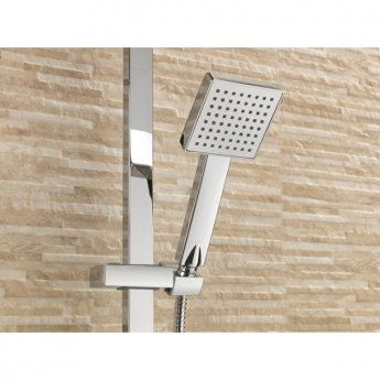 Sagittarius Aqua Thermostatic Bar Mixer Shower Valve with Riser Kit and Fixed Head - Chrome