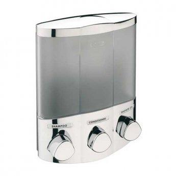 Sagittarius 3 Section Corner Soap Dispenser - Chrome