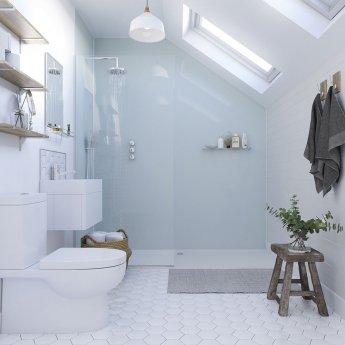 Showerwall Straight Edge Waterproof Shower Panel 900mm Wide x 2440mm High - Aqua Ice