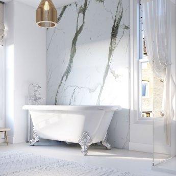 Showerwall Straight Edge Waterproof Shower Panel 1200mm Wide x 2440mm High - Bianco Carrara