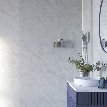 Showerwall Straight Edge Waterproof Shower Panel 900mm Wide x 2440mm High - Carrara Marble