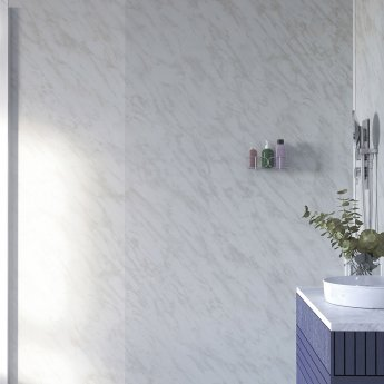 Showerwall Straight Edge Waterproof Shower Panel 1200mm Wide x 2440mm High - Carrara Marble