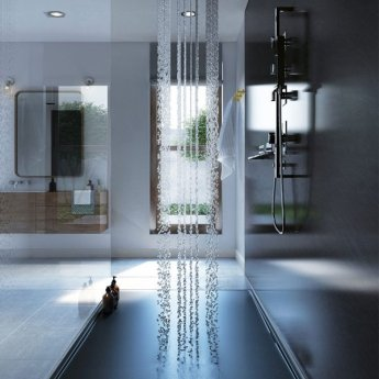 Showerwall Straight Edge Waterproof Shower Panel 1200mm Wide x 2440mm High - Slate Grey