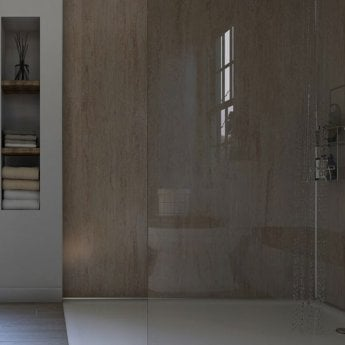 Showerwall Straight Edge Waterproof Shower Panel 900mm Wide x 2440mm High - Travertine Gloss