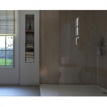 Showerwall Straight Edge Waterproof Shower Panel 900mm Wide x 2440mm High - Travertine Stone