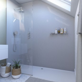 Showerwall Straight Edge Waterproof Shower Panel 900mm Wide x 2440mm High - White Sparkle