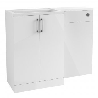 Signature Aalborg LH Combination Unit with Polymarble Basin 1100mm Wide - White Gloss