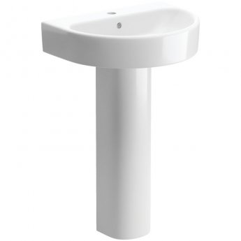 Signature Achilles Basin and Full Pedestal 555mm Wide 1 Tap Hole