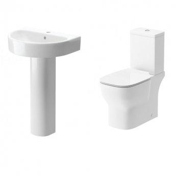 Signature Achilles Bathroom Suite Close Coupled Toilet and Basin 555mm - 1 Tap Hole