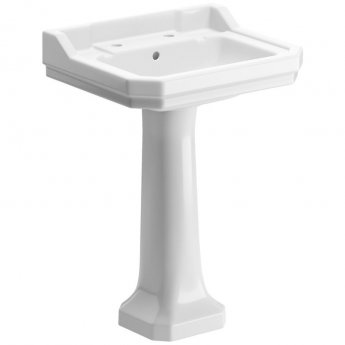 Signature Aphrodite Basin and Full Pedestal 600mm Wide 2 Tap Hole