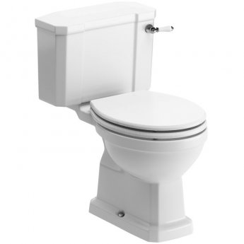 Signature Aphrodite Close Coupled Toilet with Cistern - White Ash Soft Close Seat