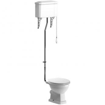 Signature Aphrodite High Level Toilet with Cistern - Satin White Ash Soft Close Seat
