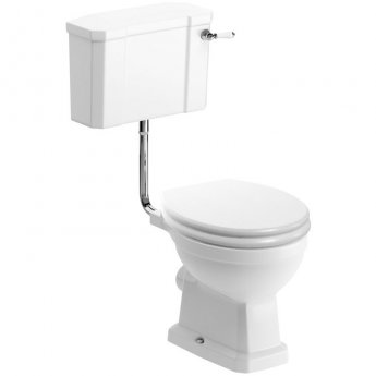 Signature Aphrodite Low Level Toilet with Cistern - Satin White Ash Soft Close Seat