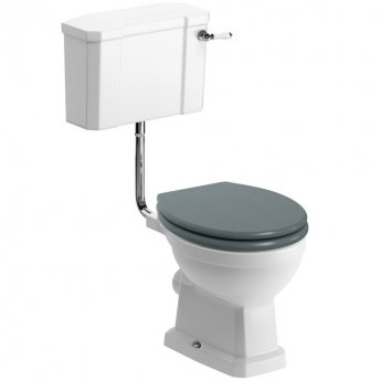 Signature Aphrodite Low Level Toilet with Cistern - Sea Green Ash Soft Close Seat
