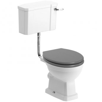 Signature Aphrodite Low Level Toilet with Cistern - Grey Ash Soft Close Seat