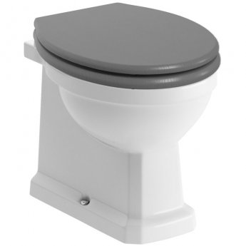 Signature Aphrodite Back To Wall Toilet 380mm Wide - Grey Ash Wooden Effect Seat