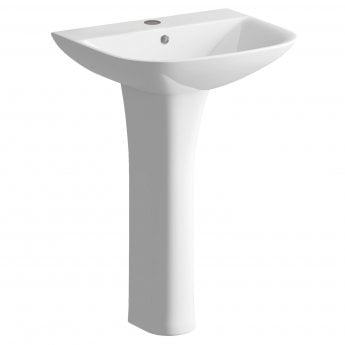 Signature Aztec Basin and Full Pedestal 560mm Wide 1 Tap Hole