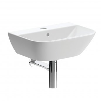 Signature Aztec Wall Hung Cloakroom Basin 450mm Wide - 1 Tap Hole