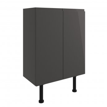 Signature Bergen Floor Standing 2-Door Base Unit 600mm Wide - Onyx Grey Gloss
