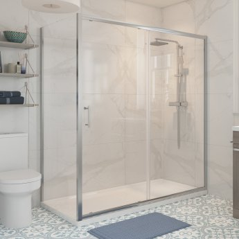 Signature Classix Sliding Shower Door 1200mm Wide - 6mm Glass