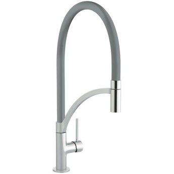 Signature Swan Neck Pull Out Single Lever Kitchen Sink Mixer Tap - Gun Metal