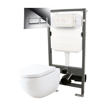 Signature Opaz Wall Hung Toilet with Soft Close Seat and 1140mm WC Frame + Trend Flush Plate