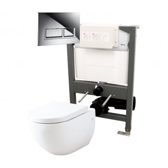 Signature Opaz Wall Hung Toilet with Soft Close Seat and 820mm WC Frame + Trend Flush Plate