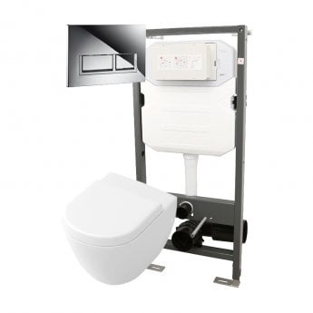 Signature Opaz Compact Wall Hung Toilet with Soft Close Seat and 1140mm WC Frame + Trend Flush Plate