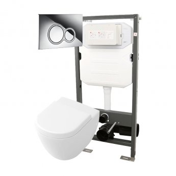 Signature Opaz Compact Wall Hung Toilet with Soft Close Seat and 1140mm WC Frame + ISO Flush Plate