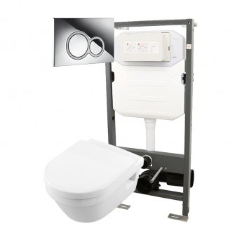 Signature Opaz 2 Wall Hung Toilet with Soft Close Seat and 1140mm WC Frame + ISO Flush Plate