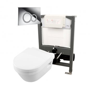 Signature Opaz 2 Wall Hung Toilet with Soft Close Seat and 820mm WC Frame + ISO Flush Plate