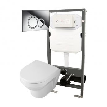 Signature Opaz 2 Compact Wall Hung Toilet with Soft Close Seat and 1140mm WC Frame + ISO Flush Plate