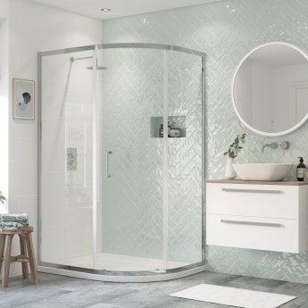 Signature Inca6 Single Door Offset Quadrant Shower Enclosure 1200mm x 900mm - 8mm Glass