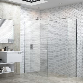 Signature Inca6 Wet Room Screen with Support Bar 1200mm Wide - 6mm Glass