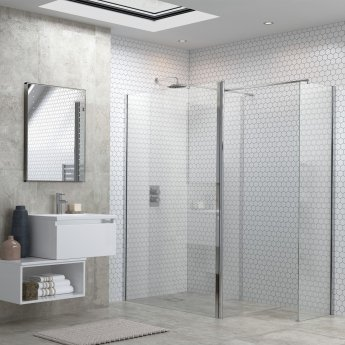 Signature Inca6 Wet Room Screen with Return Panel and Support Bar 800mm Wide - 6mm Glass