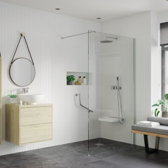 Signature Inca8 Wet Room Screen with Support Bar 760mm Wide - 8mm Glass
