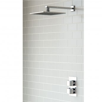 Signature Kuba Square Dual Concealed Mixer Shower with Fixed Head - Chrome