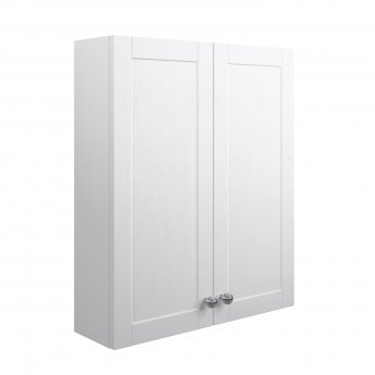 Signature Malmo Wall Hung 2-Door Storage Unit 600mm Wide - Satin White Ash