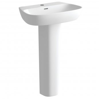 Signature Maya Basin and Full Pedestal 600mm Wide 1 Tap Hole