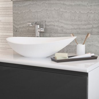 Signature Sit-On Countertop Basin 564mm Wide 0 Tap Hole - White