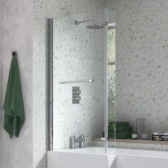 Signature L-Shaped Bath Screen with Rail 1500mm High x 815mm Wide - 6mm Glass