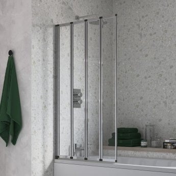 Signature Framed Four Panel Folding Square Bath Screen 1400mm High x 800mm Wide - 4mm Glass