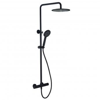 Signature Round Cool-Touch Thermostatic Bar Mixer Shower with Shower Kit and Fixed Head - Matt Black