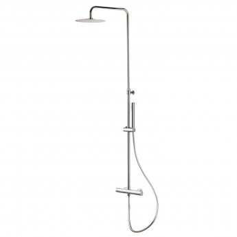 Signature Thermostatic Round Bar Mixer Shower With Shower Kit + Fixed Head - Chrome
