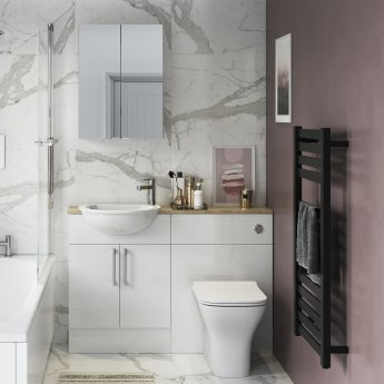 Signature Oslo Slim Back to Wall WC Toilet Unit 500mm Wide - White Gloss