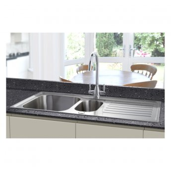 Signature Prima Deep 1.5 Bowl Kitchen Sink with Waste Kit 1000 L x 500 W - Stainless Steel