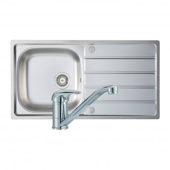 Signature Prima 1.0 Bowl Kitchen Sink with Sink Tap and Waste Kit 965 L x 500 W - Stainless Steel