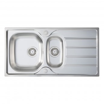 Signature Prima 1.5 Bowl Kitchen Sink with Sink Tap and Waste Kit 965 L x 500 W - Stainless Steel