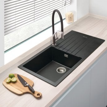 Signature Prima Granite Composite 1.0 Bowl Kitchen Sink with Waste Kit 1000 L x 500 W - Black
