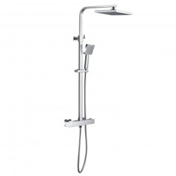Signature Quadro Cool-Touch Thermostatic Bar Mixer Shower with Shower Kit and Fixed Head - Stainless Steel